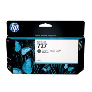 HP 727 Matte Black Ink Cartridge - 130ml - for HP DesignJet T920, T930, T1500, T1530 Printers & T2500, T2530 MFPs - B3P22A