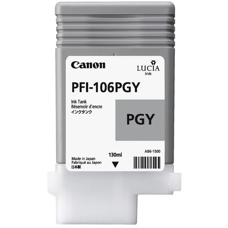 Canon PFI-106PG Photo Grey Ink Cartridge - 130ml - 6631B001AA - for Canon iPF6300, iPF6350, iPF6400, iPF6450 - next day delivery from GDS - Graphic Design Supplies Ltd