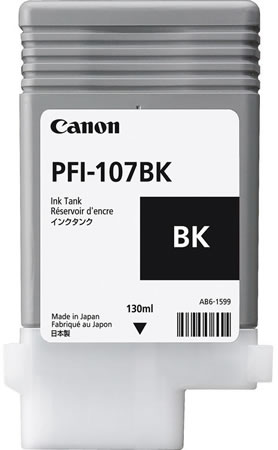 Canon PFI-107BK Printer Ink Cartridge - Black Ink Tank - 130ml - 6705B001AA - for Canon iPF670, iPF680, iPF685, iPF770, iPF780, iPF785 printers available from stock for immediate dispatch from Graphic Design Supplies Ltd