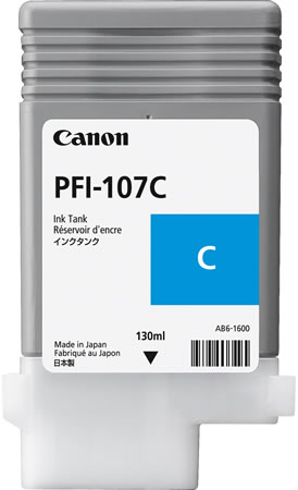 Canon PFI-107C Printer Ink Cartridge - Cyan Ink Tank - 130ml - 6706B001AA - for Canon iPF670, iPF680, iPF685, iPF770, iPF780 & iPF785 printers available from stock for immediate dispatch from Graphic Design Supplies Ltd
