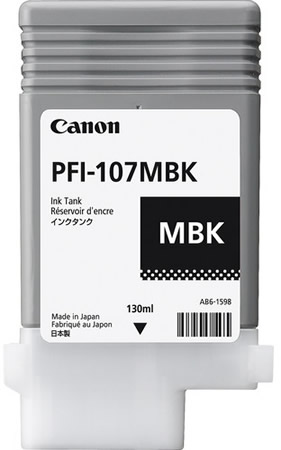 Canon PFI-107MBK Printer Ink Cartridge - Matte Black Ink Tank - 130ml - 6704B001AA - for Canon iPF670, iPF680, iPF685, iPF770, iPF780, iPF785 printers