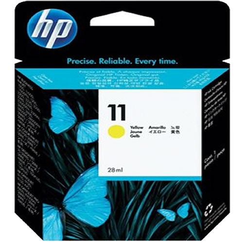 HP 11 Yellow Ink Cartridge - 28ml Ink Tank - for DesignJet 10PS, 20PS, 50PS, 70, 100, 110, 111 & 120 Printers - C4838A - express delivery from GDS - Graphic Design Supplies Ltd