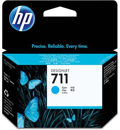 HP 711 Cyan Ink Cartridge - 29ml Ink Tank - for HP DesignJet T120, T125, T130, T520, T525 & T530 ePrinters - CZ130A