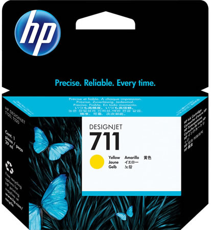 HP 711 Yellow Ink Cartridge - 29ml Ink Tank - for HP DesignJet T120, T125, T130, T520, T525 & T530 Printers - CZ132A - express delivery from GDS - Graphic Design Supplies Ltd