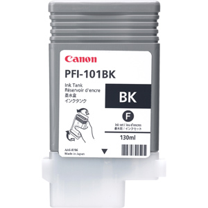 Canon PFI-101BK Black Ink Cartridge - 130ml - 0883B001AA - for Canon iPF5000, iPF6000S Printers - express delivery from GDS - Graphic Design Supplies Ltd