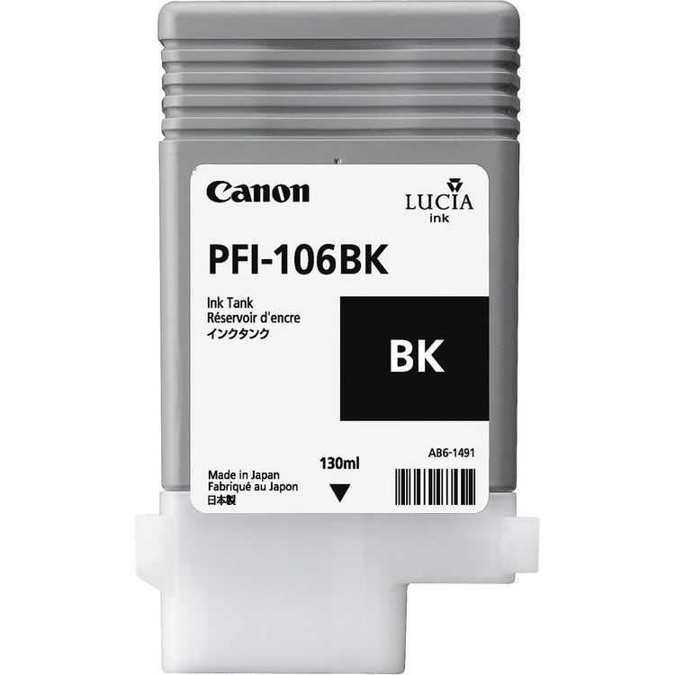 Canon PFI-106BK Black Ink Cartridge - 130ml - 6621B001AA - for Canon iPF6300, iPF6300S, iPF6350, iPF6400, iPF6400S, iPF6400SE, iPF6450 - next day delivery from GDS - Graphic Design Supplies Ltd