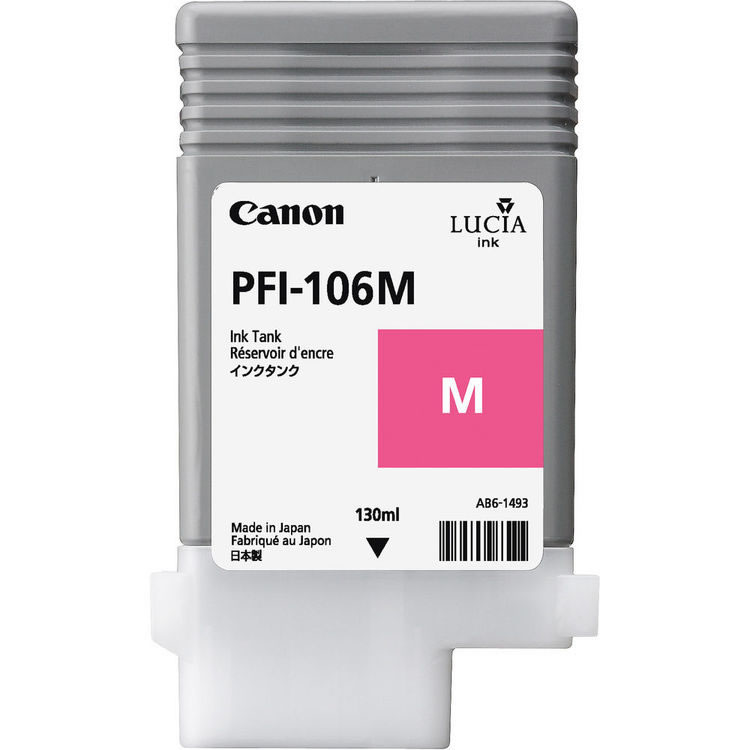 Canon PFI-106M Magenta Ink Cartridge - 130ml - 6623B001AA - for Canon iPF6300, iPF6300S, IPF6350, IPF6400, IPF6400S, iPF6400SE, IPF6450 - next day delivery from GDS - Graphic Design Supplies Ltd