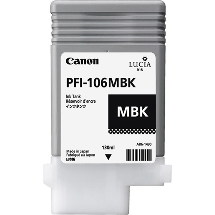 Canon PFI-106MBK Matte Black Ink Cartridge - 130ml - 6620B001AA - for Canon iPF6300, iPF6350, iPF6300S, iPF6400, iPF6400S, iPF6450 - next day delivery from GDS Graphic Design Supplies Ltd
