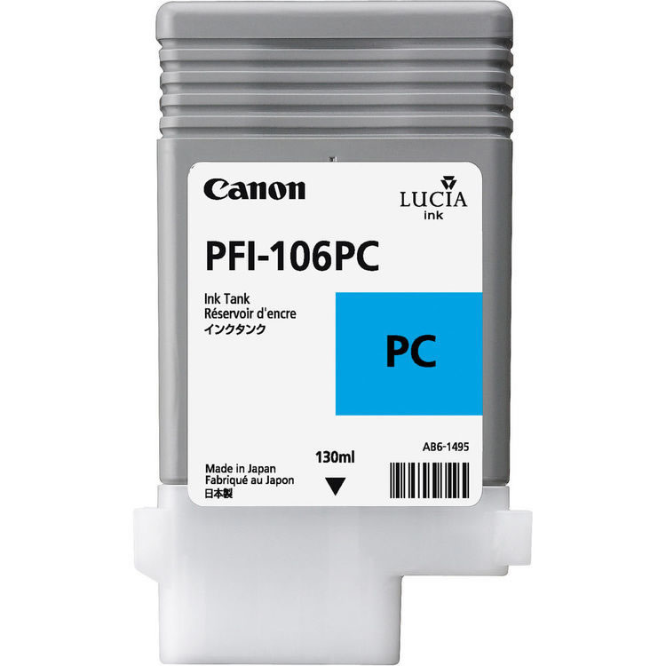 Canon PFI-106PC Photo Cyan Ink Cartridge - 130ml - 6625B001AA - for Canon iPF6300, iPF6300S, iPF6350, iPF6400, iPF6400S, iPF6450 - next day delivery from GDS - Graphic Design Supplies Ltd