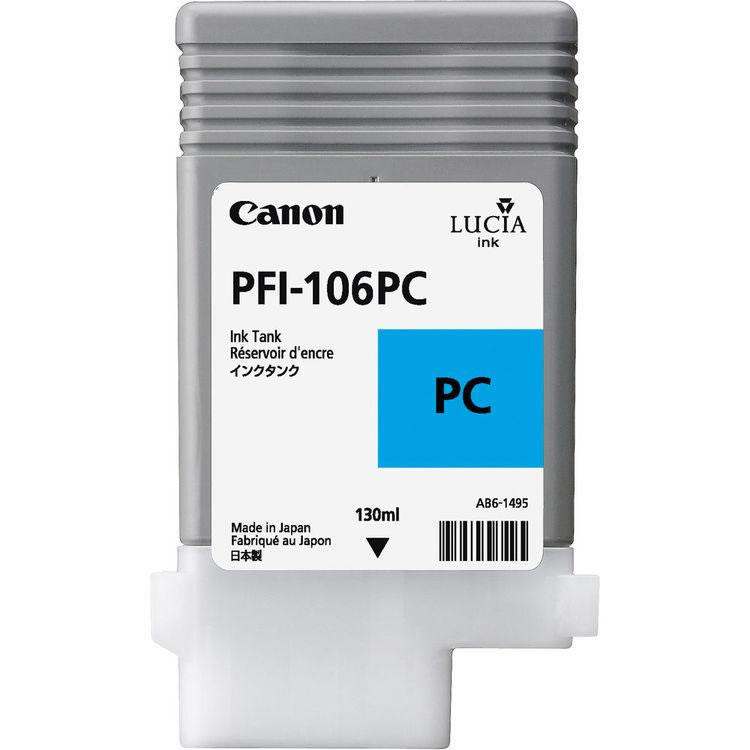 Canon PFI-106PC Photo Cyan Ink Cartridge - 130ml - 6625B001AA - for Canon iPF6300, iPF6300S, iPF6350, iPF6400, iPF6400S, iPF6450 - next day delivery from GDS - Graphic Design Supplies Ltd