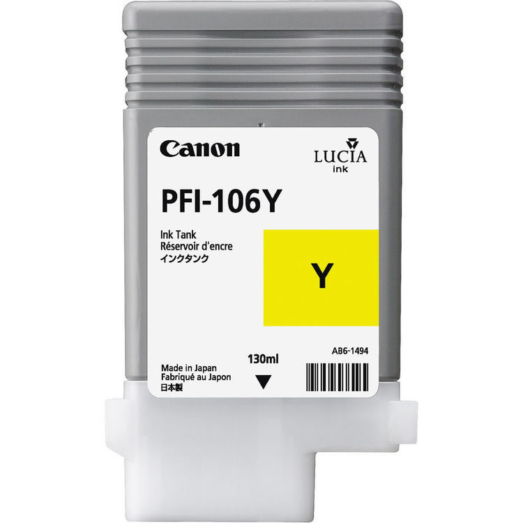 Canon PFI-106Y Yellow Ink Cartridge - 130ml - 6624B001AA - for Canon iPF6300, iPF6300S, iPF6350, iPF6400, iPF6400S, iPF6400SE, iPF6450 - next day delivery from GDS - Graphic Design Supplies Ltd