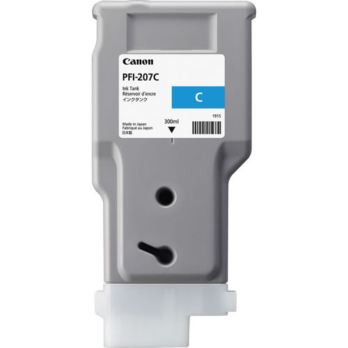 Canon PFI-207C Cyan Ink Cartridge - 300ml - 8790B001AA - for Canon iPF680, iPF685, iPF780, iPF785 Printers - express delivery from GDS - Graphic Design Supplies Ltd