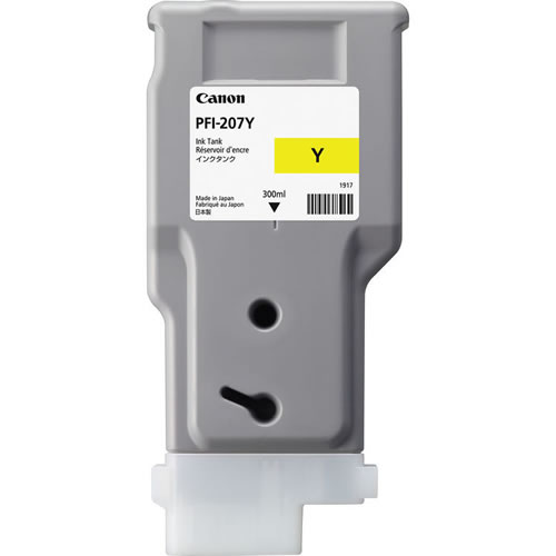 Canon PFI-207Y Yellow Ink Cartridge - 300ml - 8792B001AA - for Canon iPF680, iPF685, iPF780, iPF785 Printers