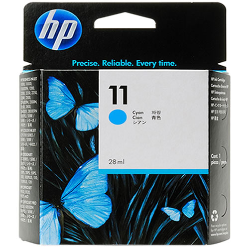 HP 11 Cyan Ink Cartridge - 28ml Ink Tank - for DesignJet 10PS, 20PS, 50PS, 70, 100, 110, 111 & 120 Printers - C4836A - express delivery from GDS - Graphic Design Supplies Ltd