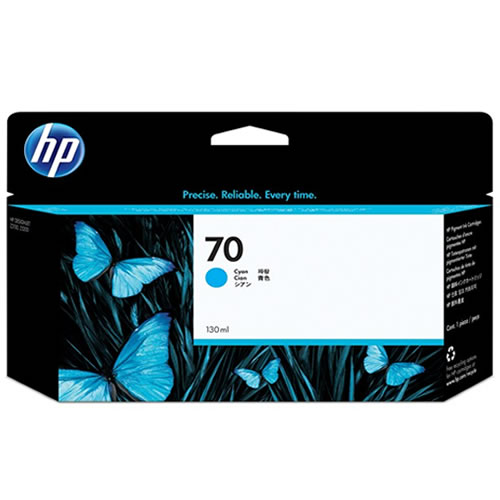 HP 70 Cyan Ink Cartridge - 130ml Ink Tank - for HP DesignJet Z2100, Z3100, Z5200 & Z5400 Printers - C9452A - express delivery from GDS - Graphic Design Supplies Ltd