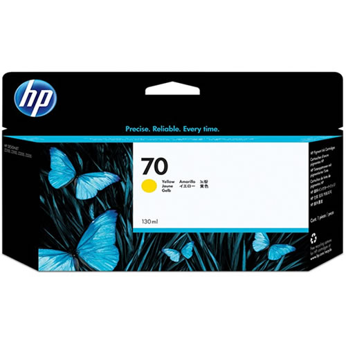 HP 70 Yellow Ink Cartridge - 130ml Ink Tank - for HP DesignJet Z2100, Z3100, Z3200, Z5200 & Z5400 Printers - C9454A - express delivery from GDS - Graphic Design Supplies Ltd
