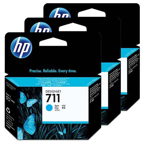 HP 711 3-Pack Cyan Ink Cartridges - 3 x 29ml Ink Tanks - for HP DesignJet T120, T125, T130, T520, T525 & T530 Printers - CZ134A - express delivery from GDS - Graphic Design Supplies Ltd