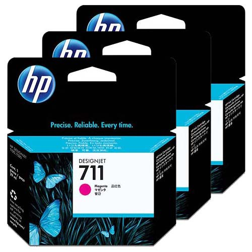 HP 711 3-Pack Magenta Ink Cartridges - 3 x 29ml Ink Tanks - for HP DesignJet T120 & T520 ePrinters - CZ135A - express delivery from GDS - Graphic Design Supplies Ltd