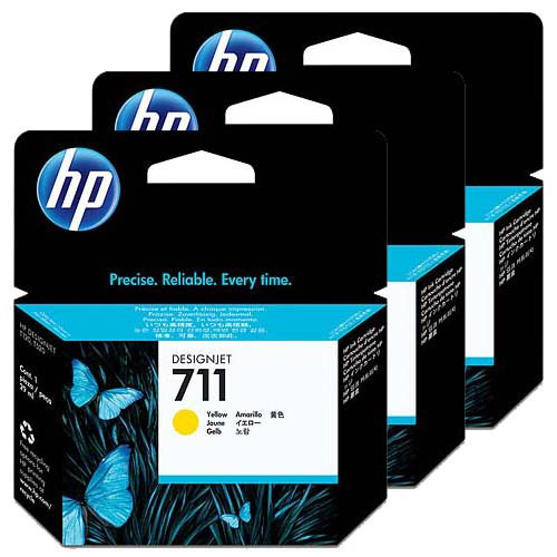 HP 711 3-Pack Yellow Ink Cartridges - 3 x 29ml Ink Tanks - for HP Designjet T120, T125, T130, T520, T525 & T530 Printers - CZ132A - express delivery from GDS - Graphic Design Supplies Ltd