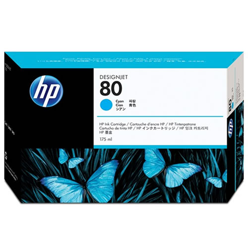 HP No 80 Cyan Ink Cartridge 175ml C4872A