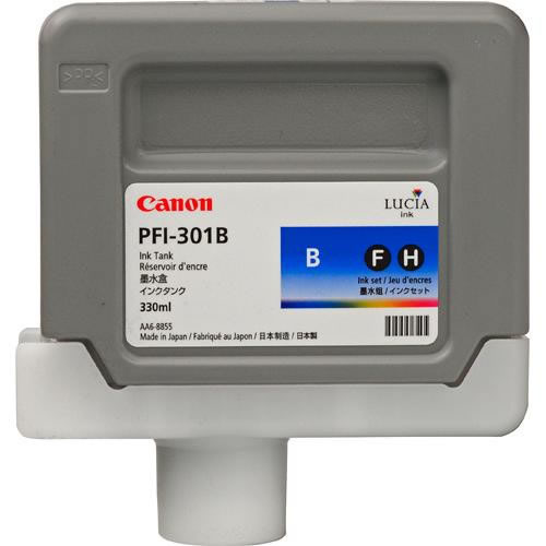 Canon PFI-301B Blue Ink Cartridge - 330ml Ink Tank - for Canon iPF8000, iPF8000S, iPF9000 & iPF9000S Printers - 1494B001AA - express delivery from GDS - Graphic Design Supplies Ltd