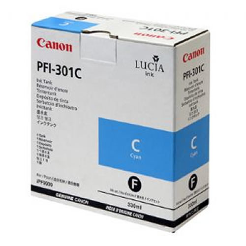 Canon PFI-301C Cyan Ink Cartridge - 330ml Ink Tank - for Canon iPF8000, iPF8000S, iPF9000 & iPF9000S Printers - 1487B001AA - express delivery from GDS - Graphic Design Supplies Ltd