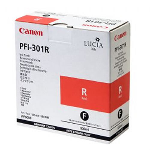 Canon PFI-301R Red Ink Cartridge - 330ml Ink Tank - for Canon iPF8000, iPF8000S, iPF9000 & iPF9000S Printers - 1492B001AA - express delivery from GDS - Graphic Design Supplies Ltd