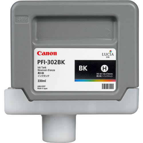 Canon PFI-302BK  Black Printer Ink Cartridge - Black Ink Tank - 330ml - 2216B001AA - express delivery from GDS - Graphic Design Supplies Ltd