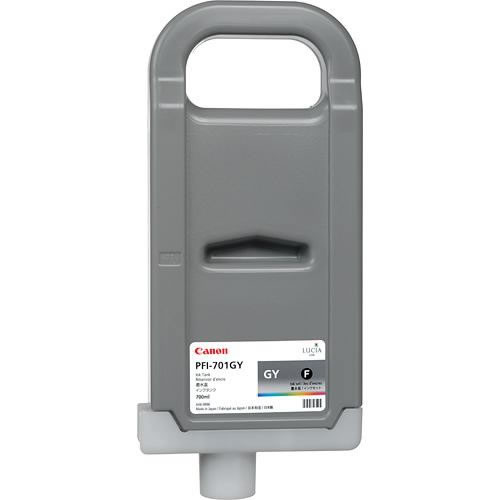 Canon PFI-701GY Printer Ink Cartridge - Grey Ink Tank - 700ml - for Canon iPF8000, iPF8000S, iPF9000, iPF9000S - 0909B005AA - express delivery from GDS - Graphic Design Supplies Ltd