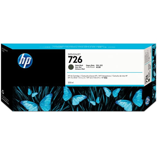 HP 726 Matte Black Ink Cartridge - 300ml Ink Tank - for HP DesignJet T1200, T1300, T2300MFP & T795 Printers - CH575A - express delivery from GDS - Graphic Design Supplies Ltd