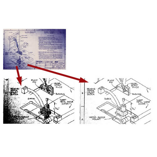 CAD drawing scanned using simple thresholding (left) and SmartWorks Pro's interactive Intelligent Adaptive Thresholding (right)