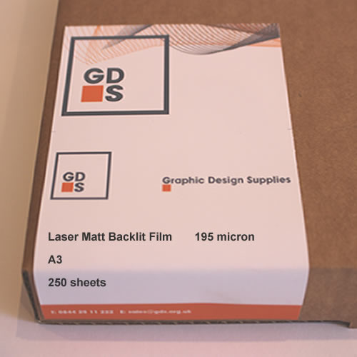 GDS Laser Matt Backlit Frosted Film 195 micron A3 250 sheets - Boxed