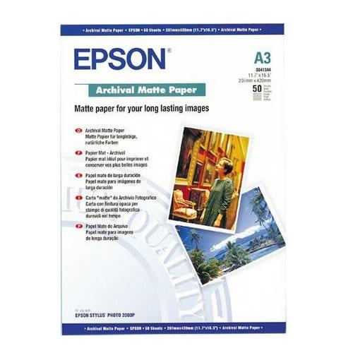 Epson Archival Matt Paper Sheets 192gsm A3 x 50 sheets C13S041344