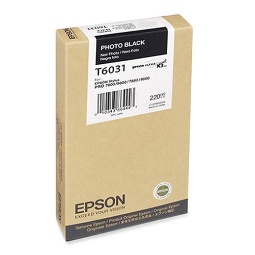 Epson T603100 Photo Black Ink Tank 220ml Cartridge C13T603100 for Epson Stylus Pro 7800, 7880, 9800, 9880