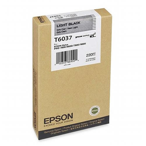 Epson T603700 Light Black Ink Tank 220ml Cartridge C13T603700 for Epson Stylus Pro 7800, 7880, 9800, 9880