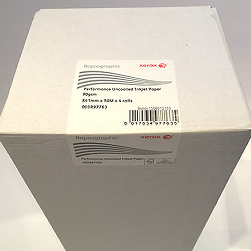 Xerox Performance Uncoated Paper 90gsm 841mm x 50mt 4 Pack 003R97763