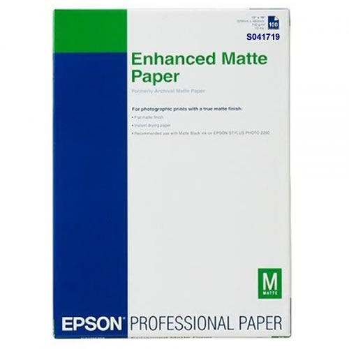 Epson Enhanced Matte Paper 189gsm A3+ x 100 sheets C13S041719