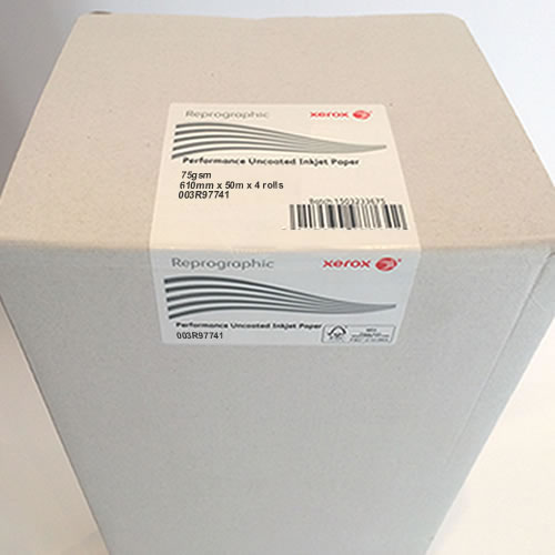"Xerox Performance Uncoated Paper 75gsm 24"" inch A1 610mm x 50mt 4 Pack 003R97741"