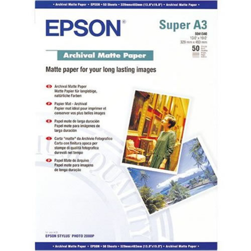 Epson Archival Matt Paper Sheets 192gsm A3+ x 50 sheets C13S041340