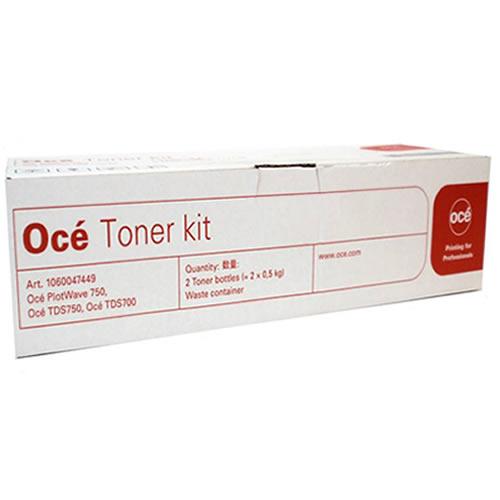 Oce TDS700 / TDS750/ Plotwave 750 Toner Kit - Black - 2 x 500g black toner bottles + waste bag - 1060047449