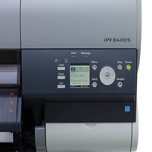 """Canon imagePROGRAF iPF8400S Printer - 44"""" inch A0 High Speed Poster / Banner / Canvas Production Printer with 250GB Harddrive delivered installed and supported long term by Canon's favourite wide format partner GDS Graphic Design Supplies"""