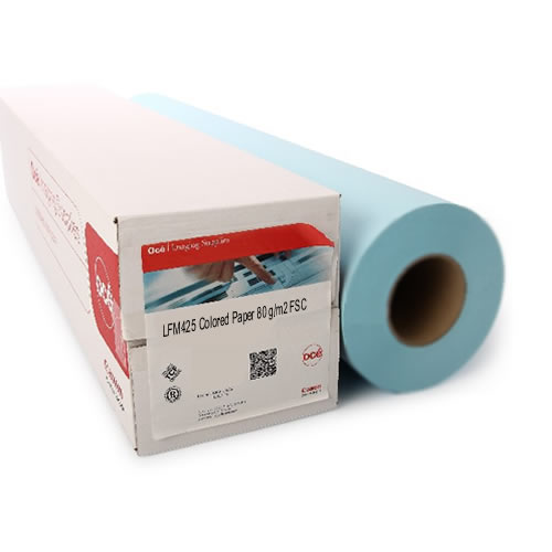 Canon Group Oce LFM425 Red Label PPC Plain Coloured Paper Roll - Medium Blue - 80gsm - 841mm x 150mt - 3 inch core - 99325854 from GDS Graphic Design Supplies Ltd - Accredit Oce Reseller & Canon CAD Select Partner