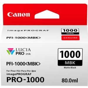 Canon PFI-1000MBK Matte Black Ink Tank 80ml - for Canon PRO-1000 Photo Printer - 0545C001