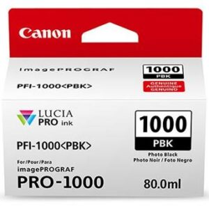 Canon PFI-1000PBK Photo Black Ink Tank 80ml - for Canon PRO-1000 Photo Printer - 0546C001