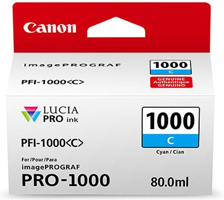 Canon PFI-1000C Cyan Ink Tank 80ml - for Canon PRO-1000 Photo Printer - 0547C001 - from GDS | Graphic Design Supplies Ltd