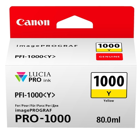 Canon PFI-1000Y Yellow Ink Tank 80ml - for Canon PRO-1000 Photo Printer - 0549C001