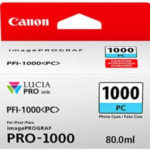 Canon PFI-1000PC Photo Cyan Ink Tank - 80ml Cartridge - for Canon PRO-1000 Photo Printer - 0550C001 - from GDS | Graphic Design Supplies Ltd