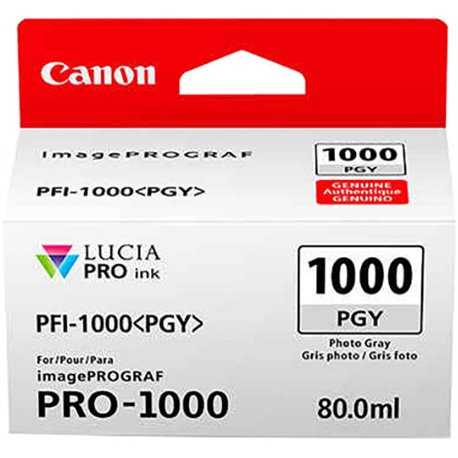 Canon PFI-1000PGY Photo Grey Ink Tank - 80ml Cartridge - for Canon PRO-1000 Photo Printer - 0553C001