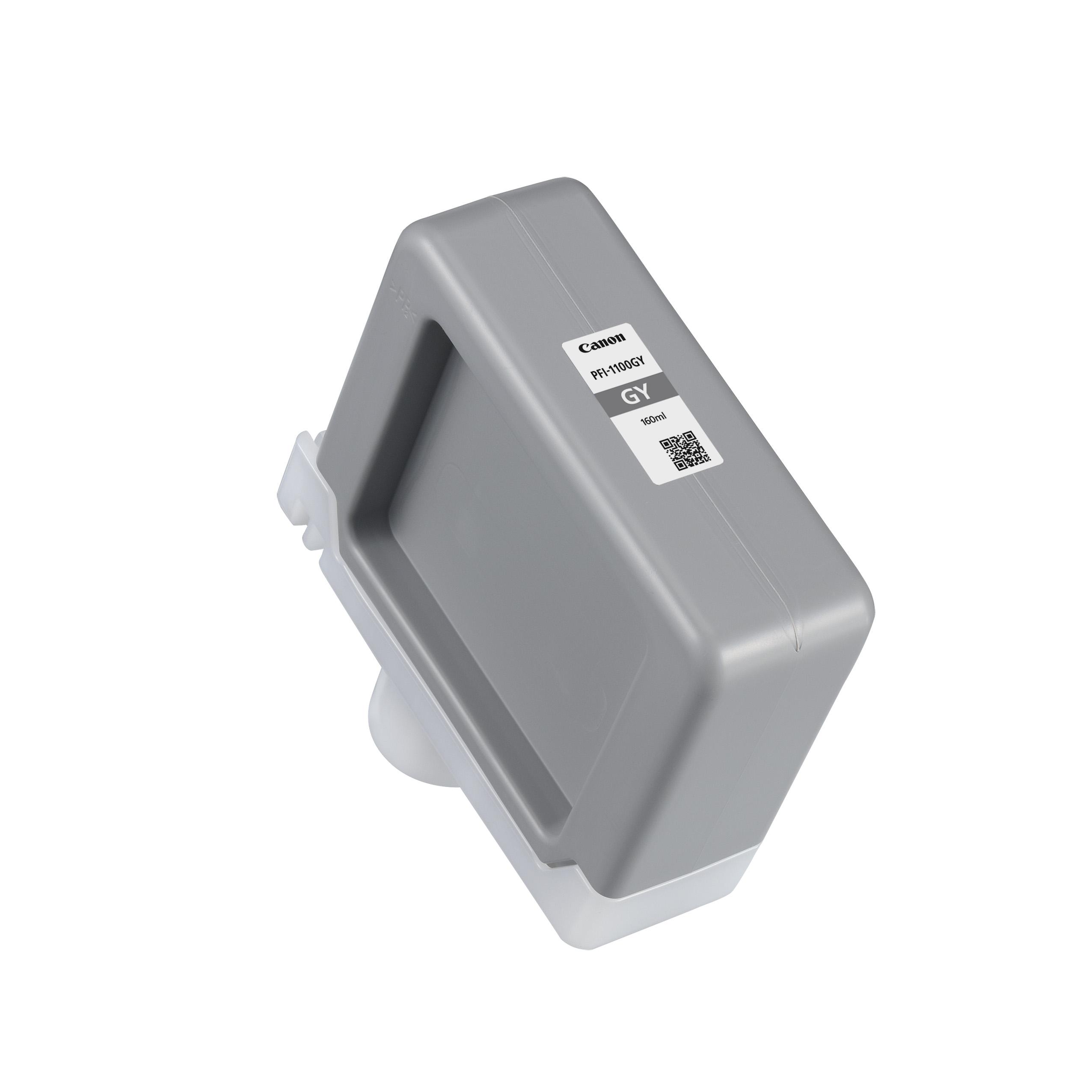 Canon PFI-1100GY Grey Ink Tank - 160ml Cartridge - for Canon PRO-2000, PRO-2100, PRO-4000S, PRO-4100S, PRO-4000, PRO-4100, PRO-6000S, PRO-6100S, PRO-6000 & PRO-6100 Printers - 0856C001AA