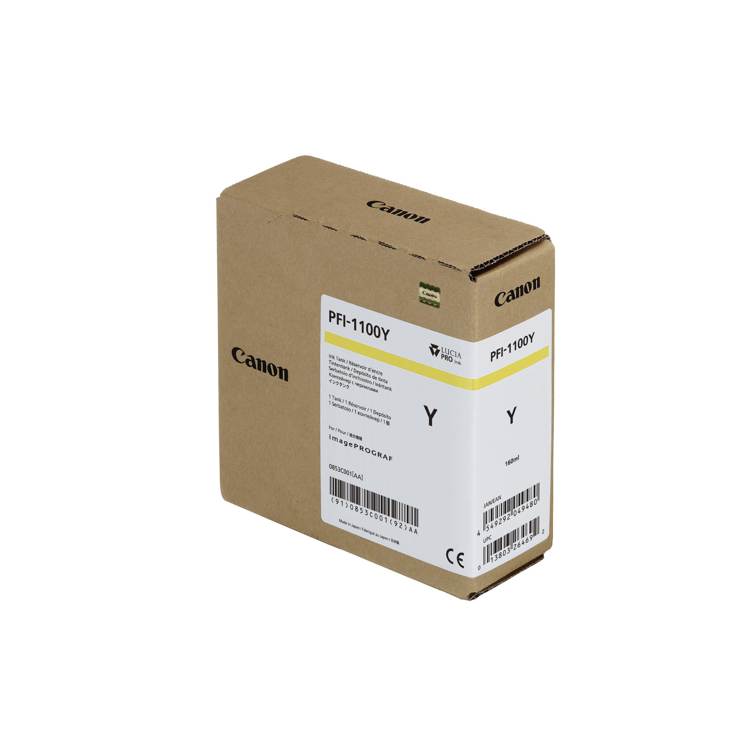 Canon PFI-1100Y Yellow Ink Tank | 160ml Cartridge | for Canon PRO-2000, PRO-2100, PRO-4000, PRO-4100S, PRO-4100, PRO-6000, PRO-6100S & PRO-6100 Printers - 0853C001AA